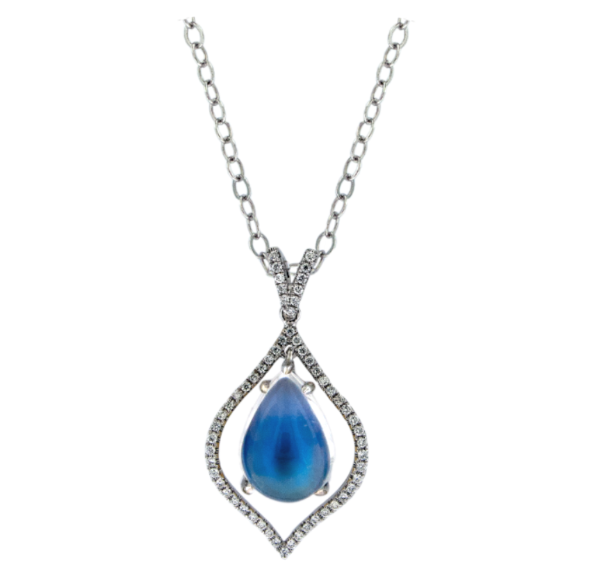 Blue Moonstone and Diamond Pendant