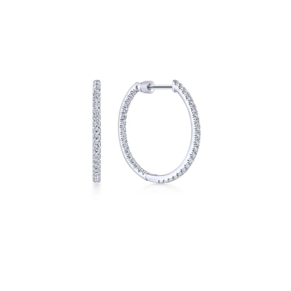 29414f2392a2 14k White Gold 20MM Inside Out Scalloped Diamond Hoop Earrings ...