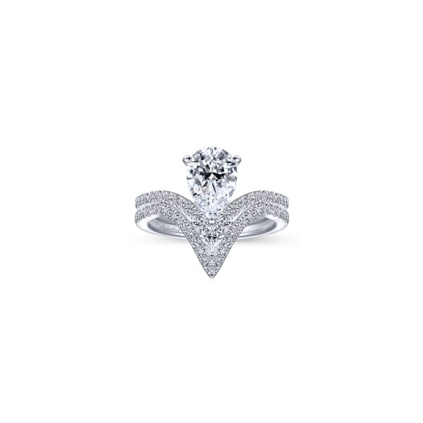 Pear Engagement Ring Shown with Wedding Band