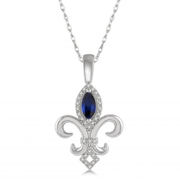 Diamond & Gemstone Fleur de Lis Pendant