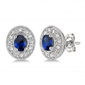 Oval Shape Gemstone & Diamond Stud Earrings