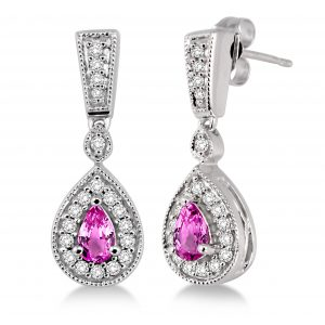 Pear Shape Gemstone & Diamond Drop Earrings
