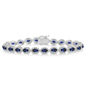 Oval Gemstone & Diamond Bracelet