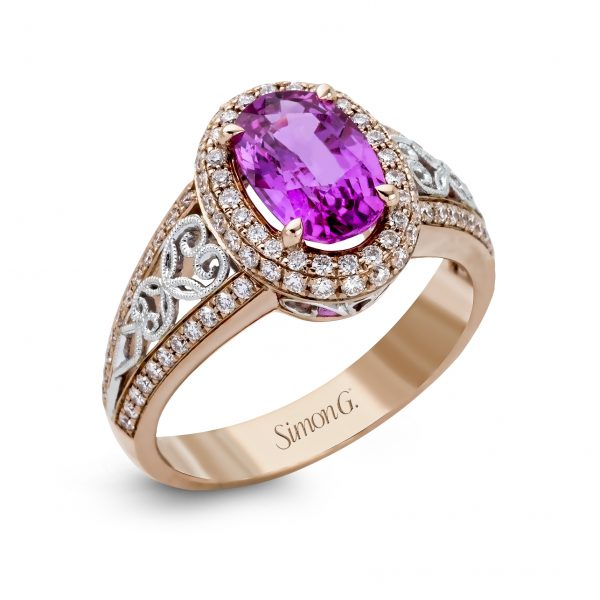 Oval Gemstone & Diamond Fashion Ring