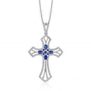 Diamond & Sapphire Cross Pendant