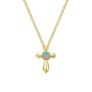 14K Gold Round Opal Cross Pendant Necklace