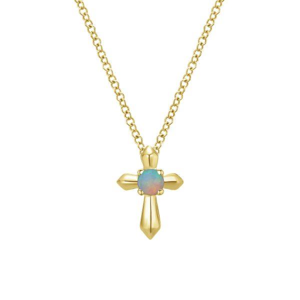 14K Gold Round Opal Cross Pendant Necklace