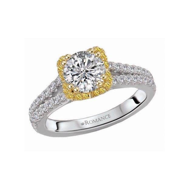 Fancy Yellow Diamond Split Shank Engagement Ring