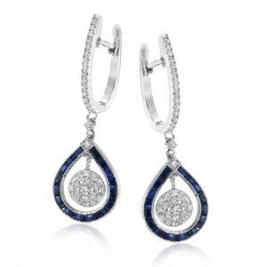 14 Karat Pear diamond Sapphire Drop Earrings