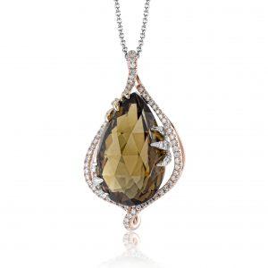 Free Form Diamond Halo Citrine Necklace