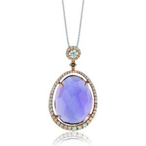 One of a kind amethyst diamond necklace