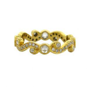 Diamonds Set Yellow Gold Scroll Band