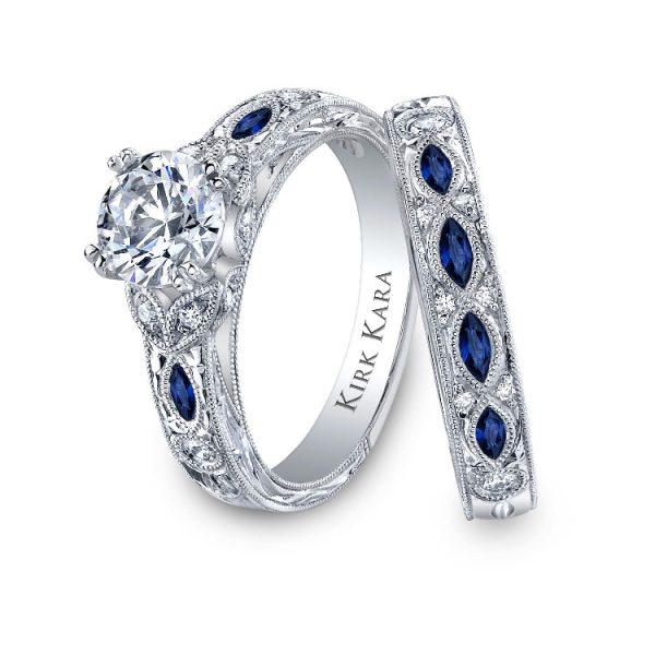 Wedding Set features round diamonds set w marquise sapphires