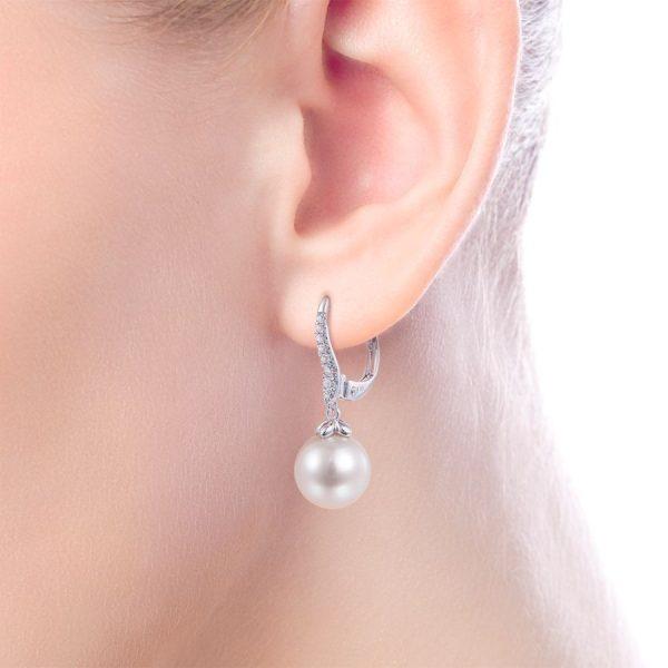 14K White Gold Pearl and Diamond Leverback Earrings EG13693W45PL $ 870