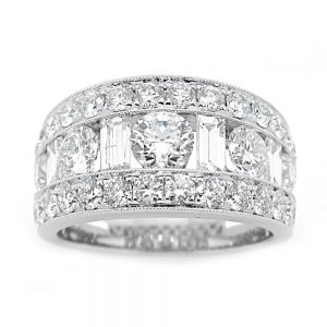 18 Karat White Gold Large 3 row Diamond Band w Alternating Baguette Large Round Diamonds w Diamond Edges