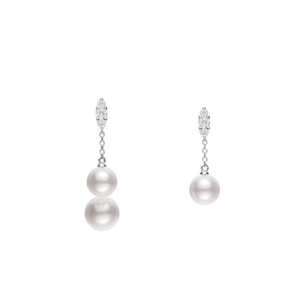 Akoya Cultured Pearl Earrings with Diamonds in 18K White Gold