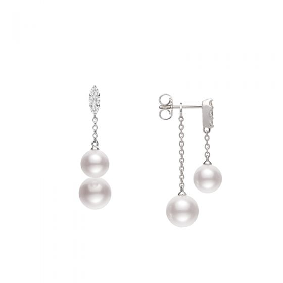 Akoya Cultured Pearl Earrings with Diamonds in 18K White Gold Gallery