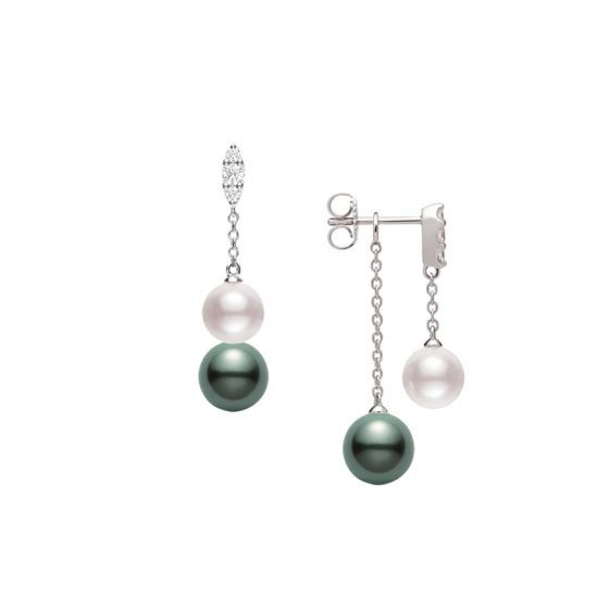 Akoya and Black South Sea Cultured Pearl Earrings with Diamonds Gallery