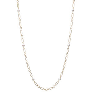 M Code Akoya Cultured Pearl Necklace in 18K Yellow Gold